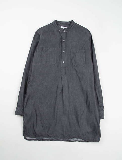 Black 4oz Denim Banded Collar Long Shirt