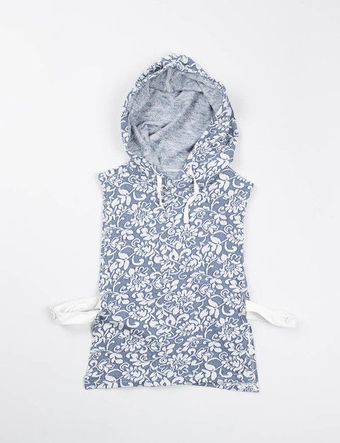 Navy Floral Jacquard French Terry Hooded Interliner