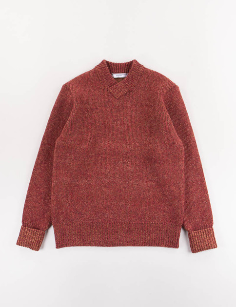 Burgundy V–Neck Lettered Sweater