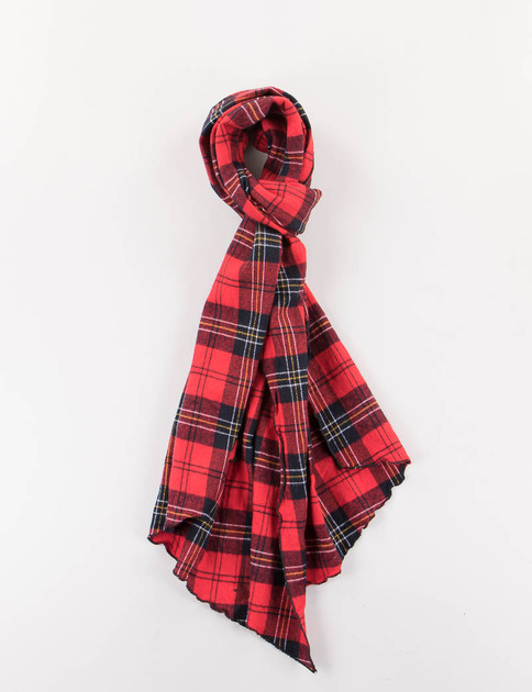 Red/Black Plaid Flannel Long Scarf