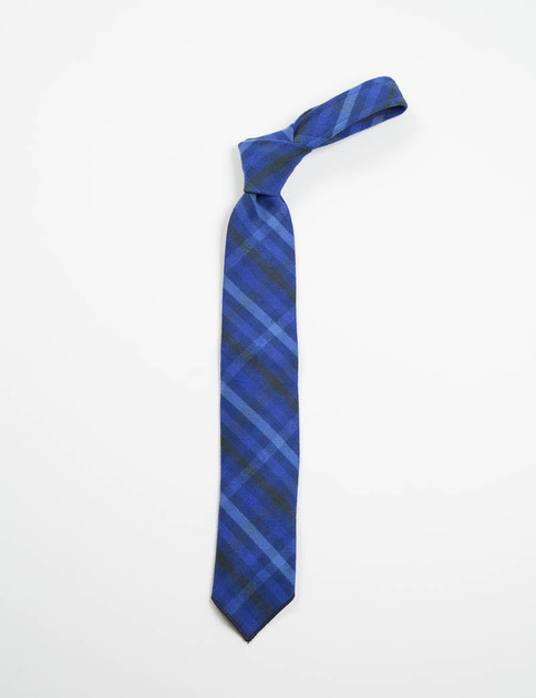 Blue/Navy Brushed Plaid Neck Tie