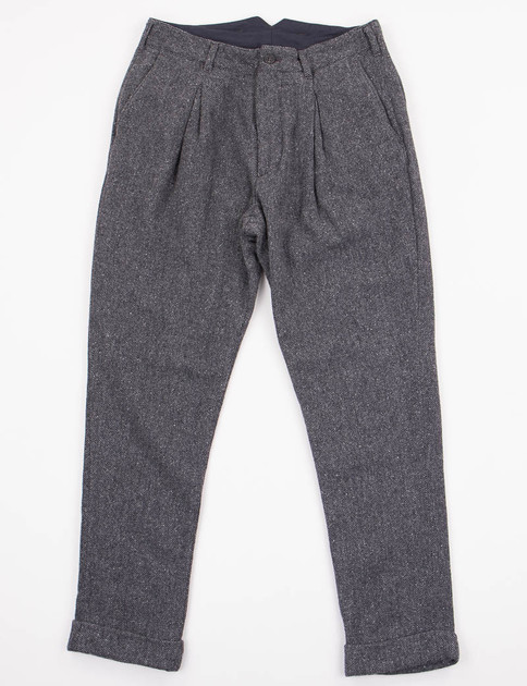 Dark Grey Wool Pattern Mix Willy Post Pant