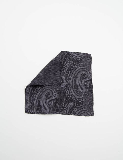Black Paisley Double Faced Pocket Square
