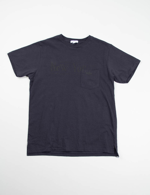 Navy New York Printed Cross Crew Tee
