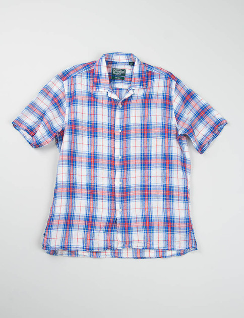 White/Blue/Red Madras Linen Camp Shirt