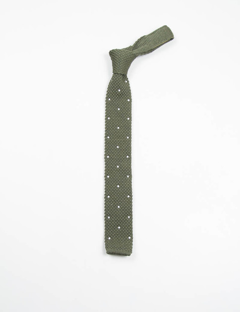 Olive Polka Dot Wool Knit Tie