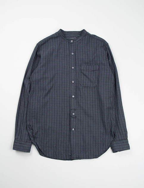 Green/Black Small Check Banded Collar Shirt