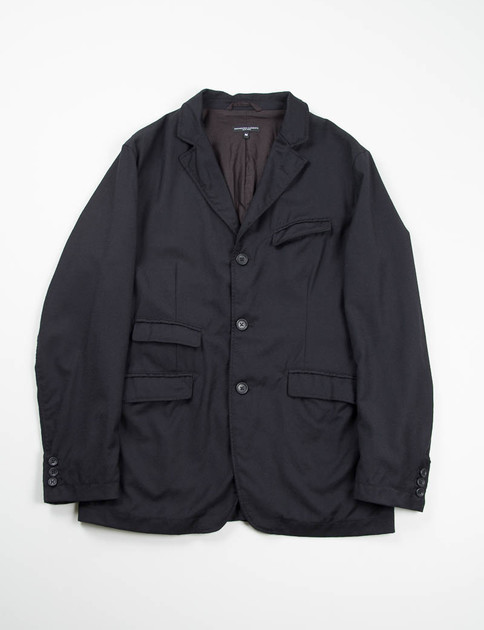 Black Worsted Wool Flannel Andover Jacket