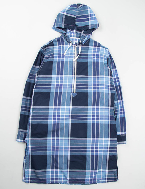Light Blue/Navy/White Big Plaid Long Bush Shirt