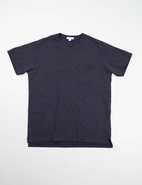 Navy Columbus Ave Printed Cross Crew Tee