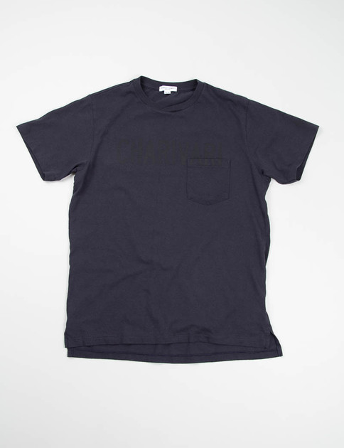 Navy Charivari Printed Cross Crew Tee