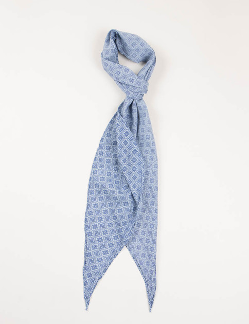 Blue Indian Flower Crest Print Bias Cut Scarf