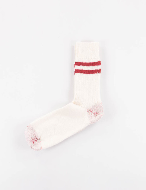Nature/Red S75 Organic Wool Striped Socks