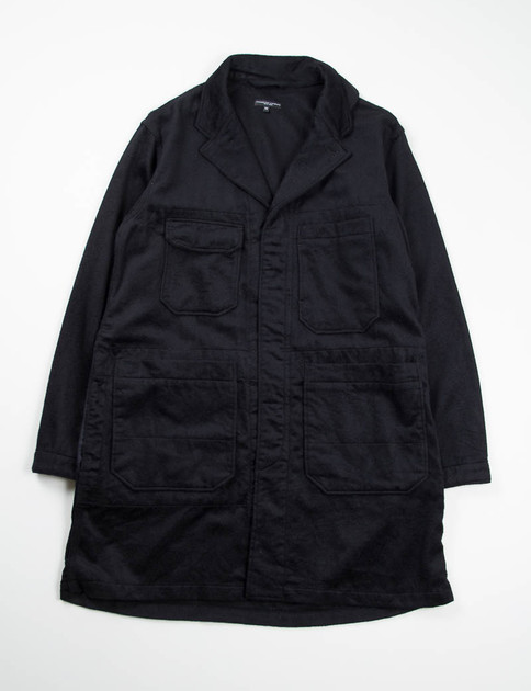 Black Wool Cashmere Flannel Shop Coat