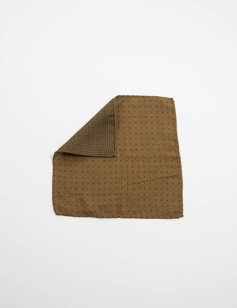 Olive Polka Dot Double Faced Pocket Square