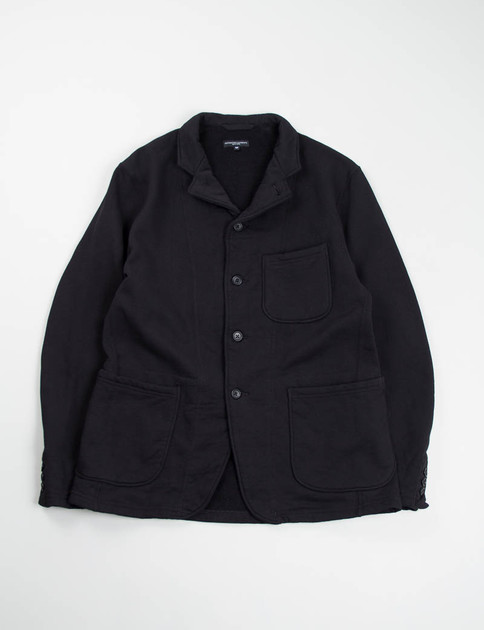 Black Fleece Knit Leisure Jacket