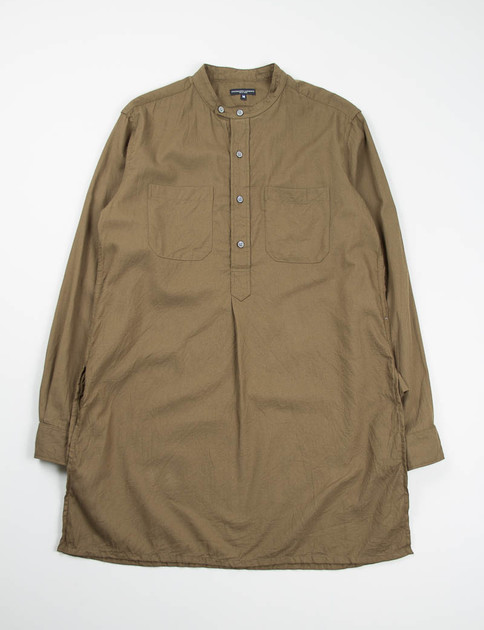 Olive Brushed Twill Banded Collar Long Shirt