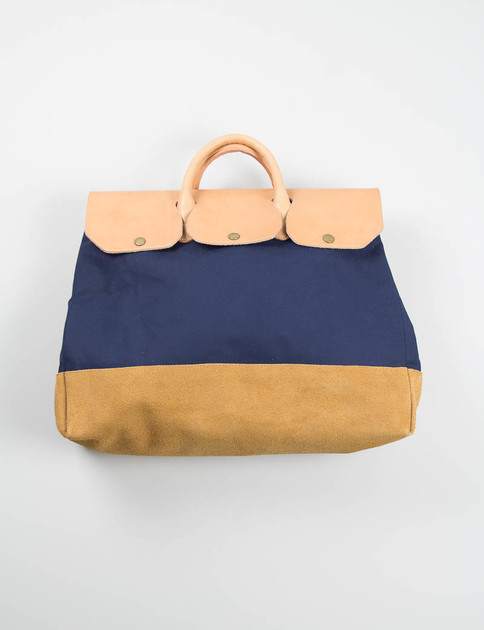 Navy Canvas Boston Bag