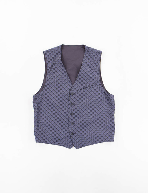 Navy Diamond Jacquard Reversible Vest