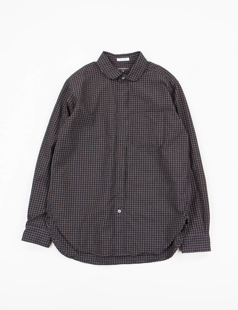Black Graph Check Rounded Collar Shirt