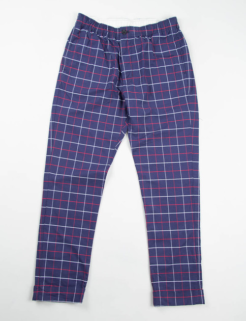 Navy/Red/White Windowpane Charles Pant