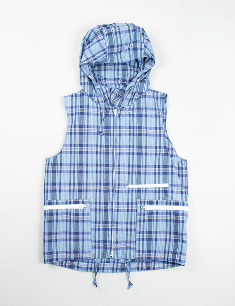 Light Blue/Navy Nyco Plaid North Wind Vest