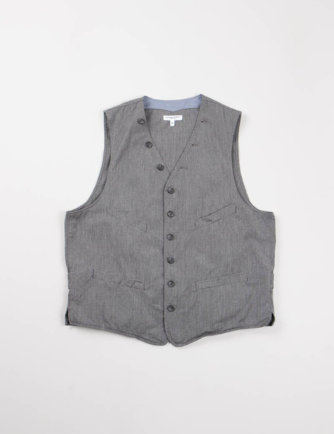 Grey Broken Chambray Cinch Vest