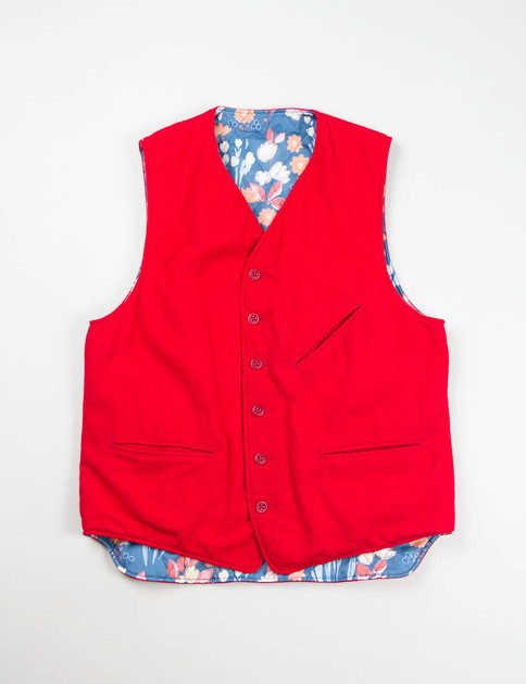 Red 12oz All Wool Flannel Reversible Vest