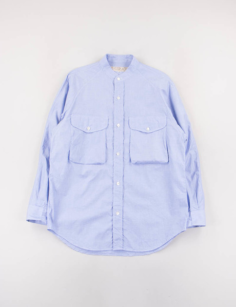 Blue End On End Stand Collar Shirt