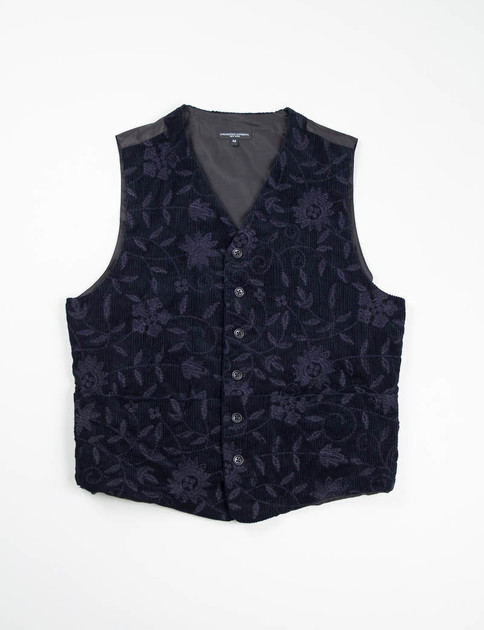 Dark Navy Floral Embroidered Corduroy Clement Vest