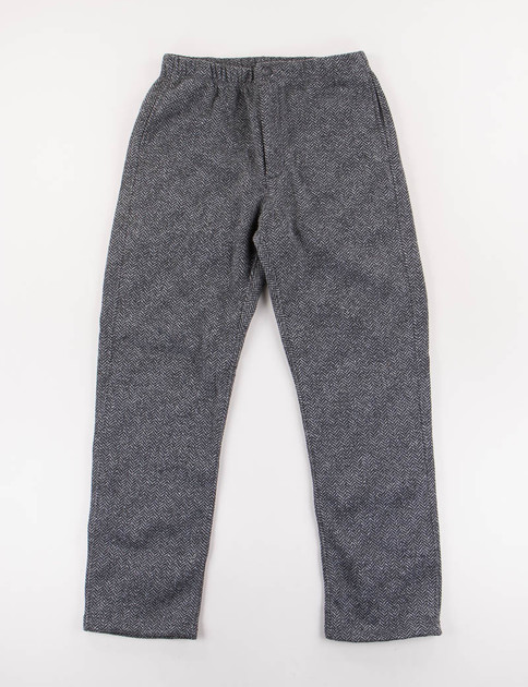 Grey Herringbone Fleece Knit Track Pant