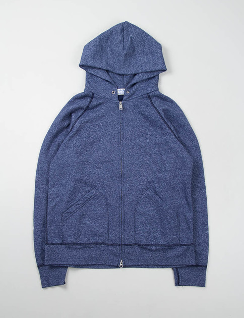 Heather Navy Hooded Zip Sweat