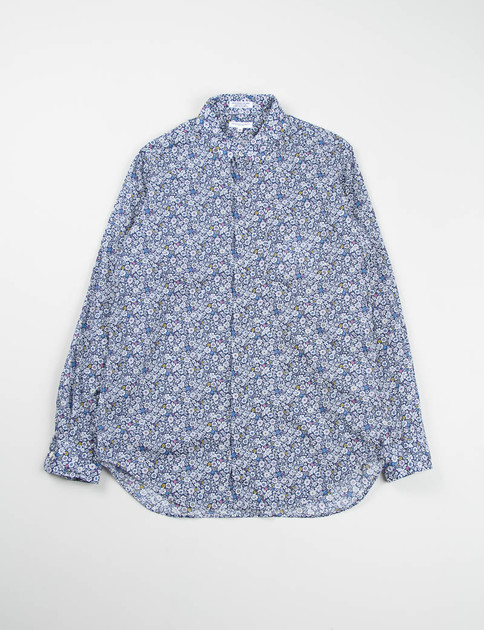 Navy/White Small Floral Lawn Short Collar Shirt