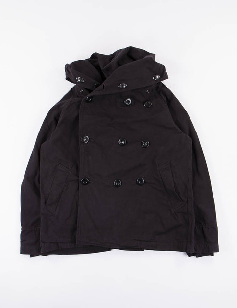 Black Brushed Twill Tri–P Ring Coat