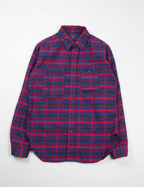 Red/Navy Brushed Plaid Work Shirt