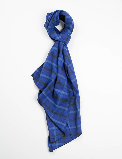 Blue/Navy Brushed Plaid Long Scarf