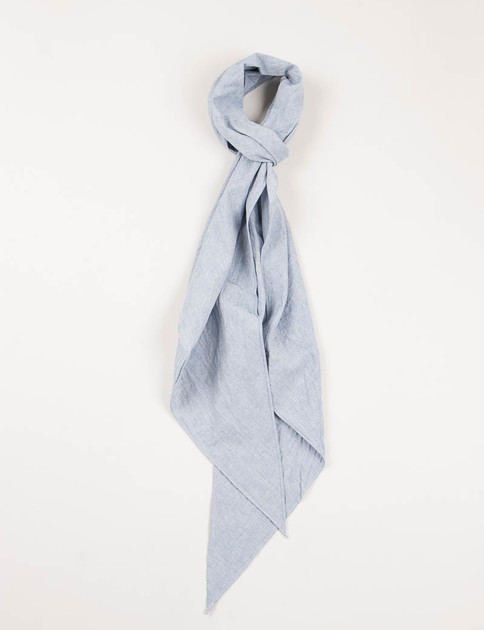 Blue Cotton/Linen Chambray Bias Cut Scarf