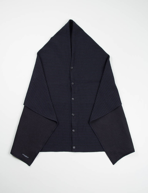 Black/Navy Wool Horizontal Stripe Button Shawl