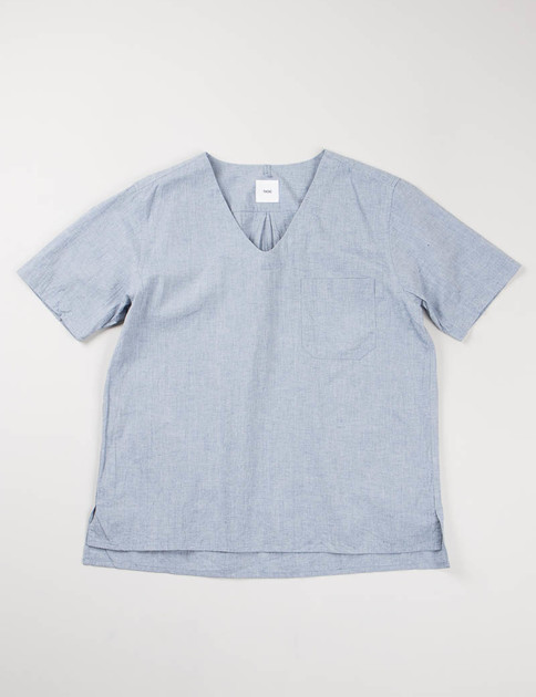 Blue Chambray SS V–Neck Pullover Shirt
