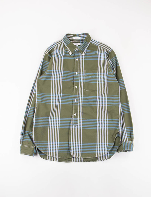 Olive/Blue Cotton Plaid 19th Century BD Shirt