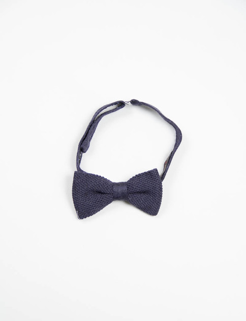 Navy Wool Knit Bow Tie