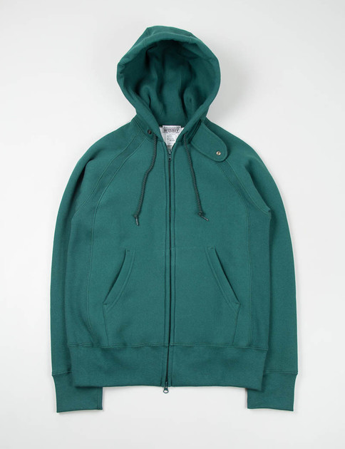 Dark Green Thermal Raglan Zip Hoody