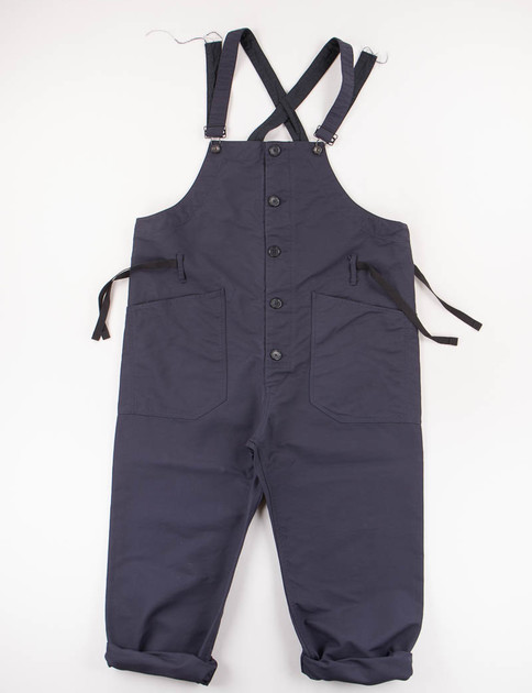Dark Navy Cotton Double Cloth Overalls