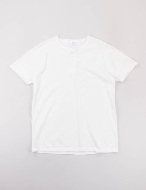 White Short Sleeve Henley