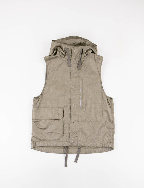 Olive Coated Linen Field Vest