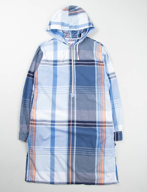 Navy/Orange Big Plaid Long Bush Shirt