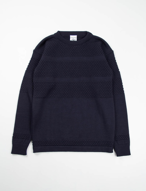 Navy Blue Fisherman Crew Neck