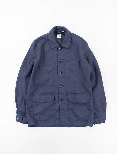Navy Plain Weave Linen Travail Jacket