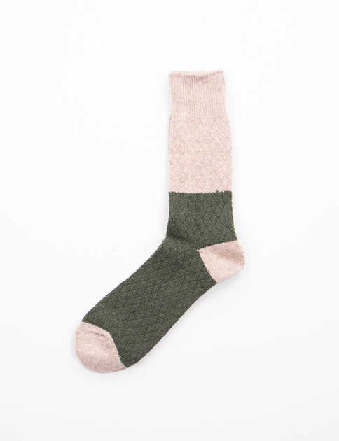 Beige/Olive Diamond Knit Socks