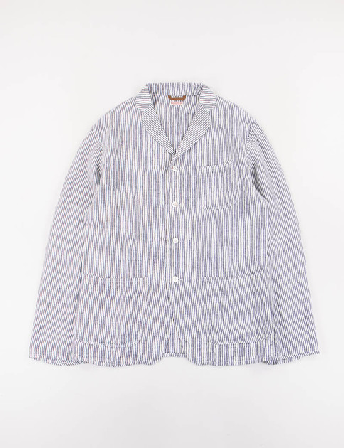 Navy Stripe Linen Kobe Jacket